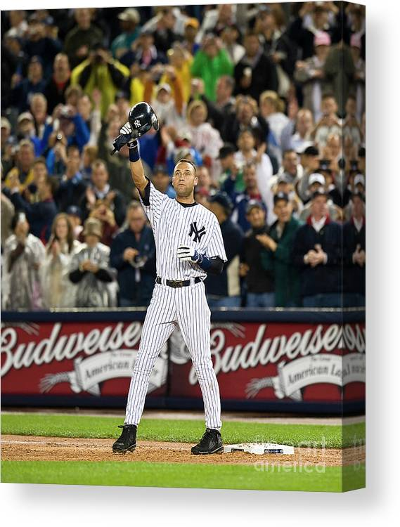 People Canvas Print featuring the photograph Lou Gehrig And Derek Jeter by Icon Sports Wire
