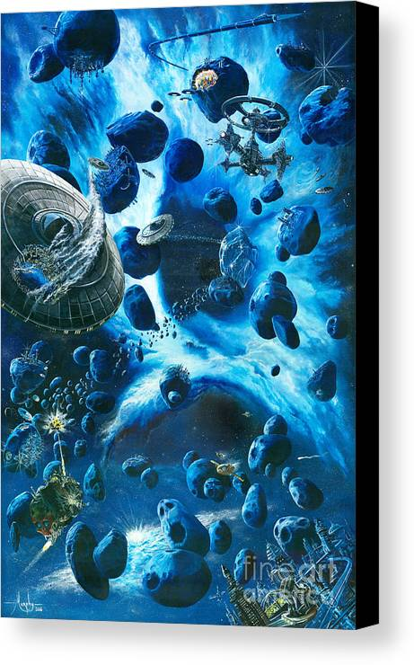 Asteroid Canvas Print featuring the painting Alien Pirates by Murphy Elliott