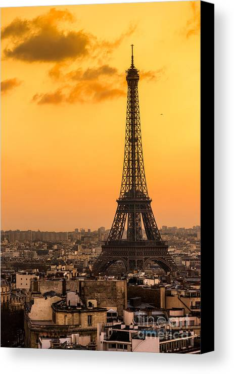 Ancient Canvas Print featuring the photograph Eiffel Tower At Sunrise - Paris by Luciano Mortula