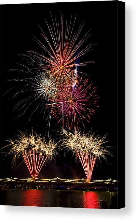 July 4th Canvas Print featuring the photograph Fireworks by Saija Lehtonen