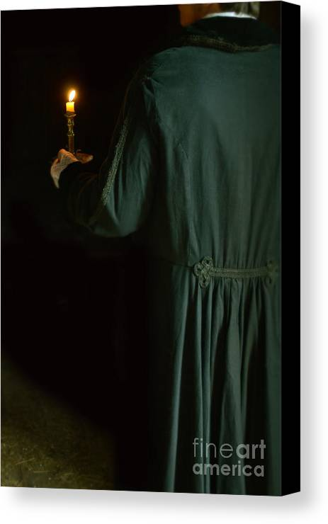 Young Canvas Print featuring the photograph Gentleman In 18th Century Clothing With A Candle by Jill Battaglia