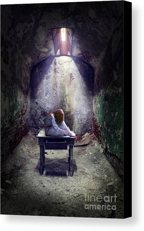 Child Canvas Print featuring the photograph Girl In Abandoned Room by Jill Battaglia