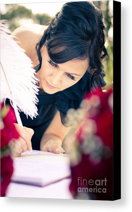 Female Canvas Print featuring the photograph Maid Of Honour Signing Wedding Registar by Jorgo Photography - Wall Art Gallery