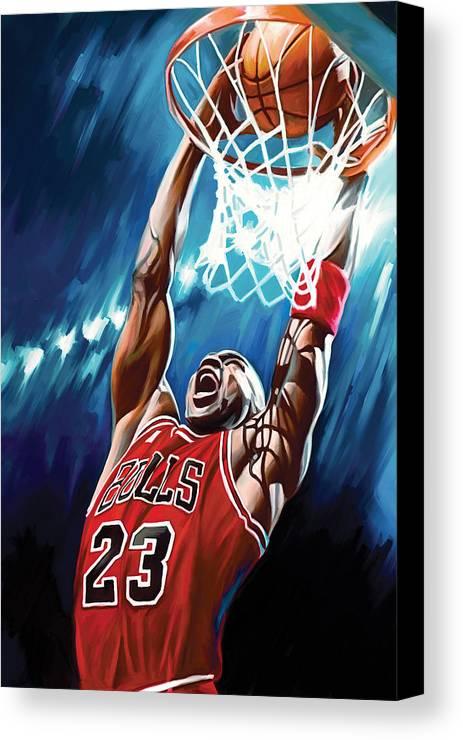 Nba Canvas Print featuring the painting Michael Jordan Artwork by Sheraz A