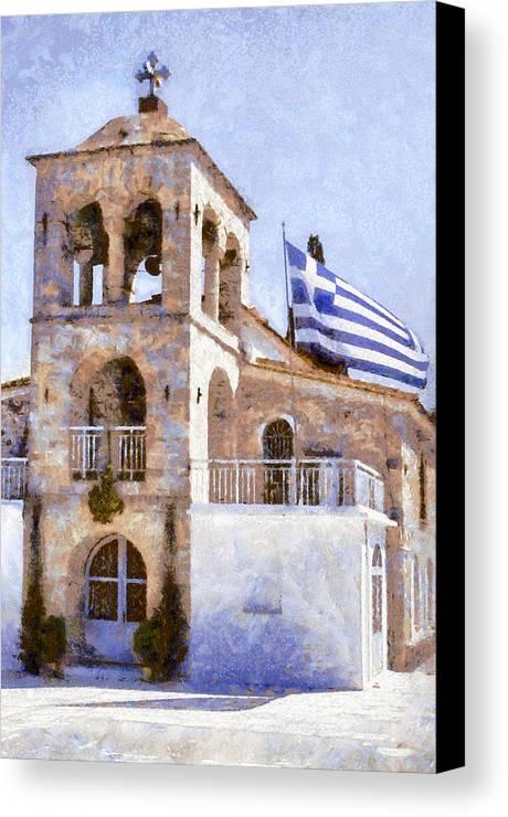 Greece Canvas Print featuring the digital art Small Greek Church by Roy Pedersen