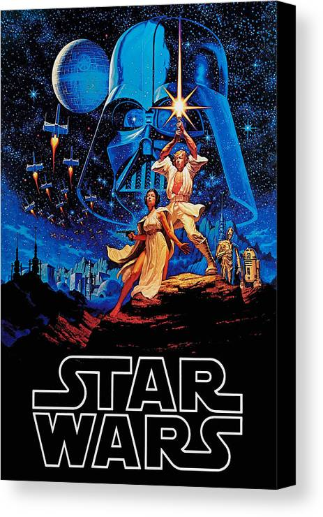 Star Canvas Print featuring the drawing Star Wars by Farhad Tamim