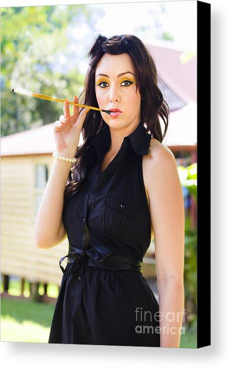 Attractive Canvas Print featuring the photograph Vintage Fashion Glamour by Jorgo Photography - Wall Art Gallery