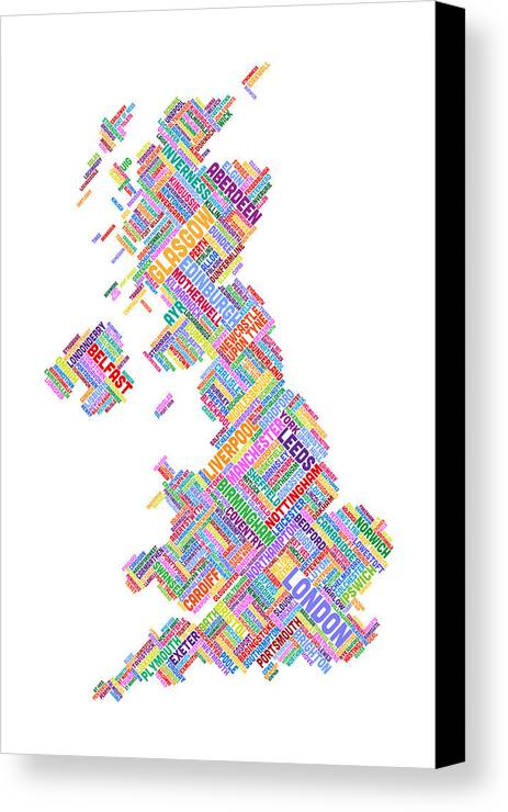 United Kingdom Canvas Print featuring the digital art Great Britain Uk City Text Map by Michael Tompsett