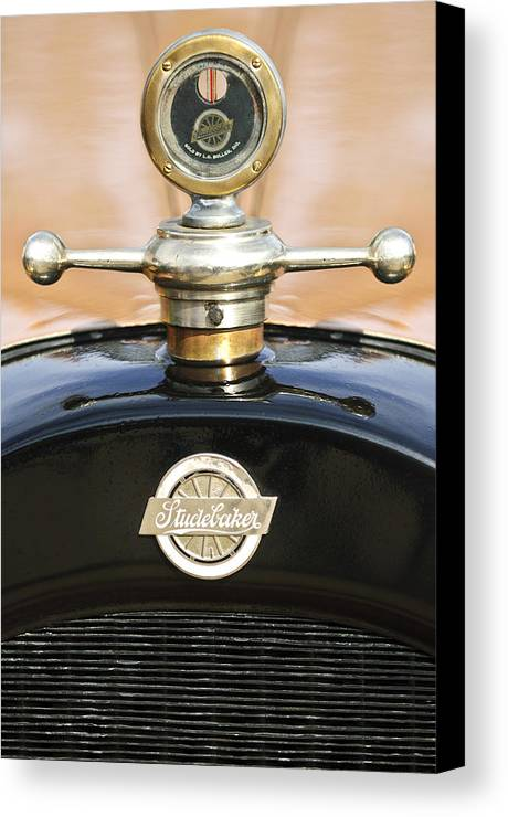 1922 Studebaker Touring Canvas Print featuring the photograph 1922 Studebaker Touring Hood Ornament by Jill Reger