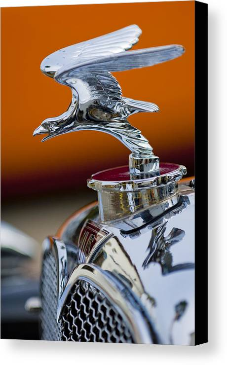 1932 Alvis Speed 20 Canvas Print featuring the photograph 1932 Alvis Hood Ornament 2 by Jill Reger