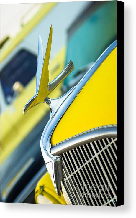 Abstract Canvas Print featuring the photograph 1935 Hudson Hood Ornament by Imagery by Charly