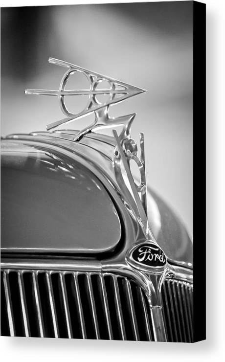 1936 Ford Deluxe Roadster Canvas Print featuring the photograph 1936 Ford Deluxe Roadster Hood Ornament 2 by Jill Reger
