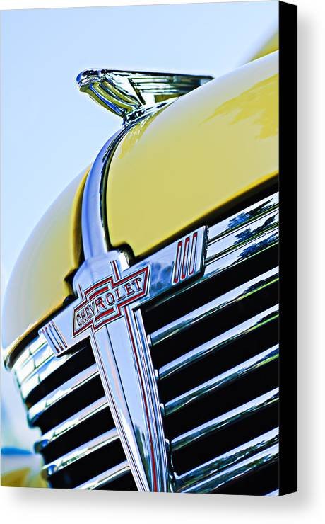 1938 Chevrolet Coupe Hood Ornament Canvas Print featuring the photograph 1938 Chevrolet Coupe Hood Ornament -0216c by Jill Reger