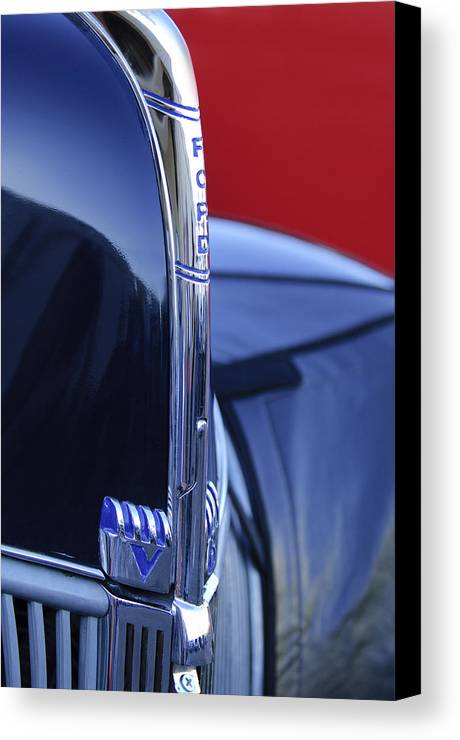 1940 Ford Canvas Print featuring the photograph 1940 Ford Hood Ornament 2 by Jill Reger