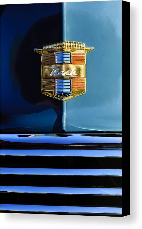 1947 Nash Suburban Canvas Print featuring the photograph 1947 Nash Surburban Hood Ornament by Jill Reger