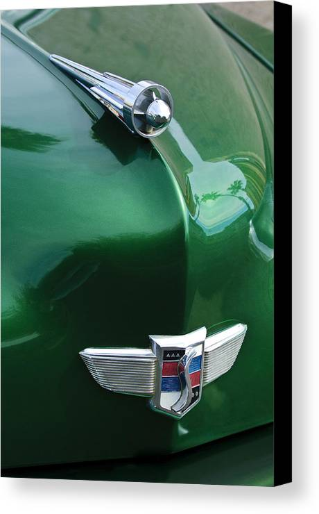 1949 Studebaker Champion Canvas Print featuring the photograph 1949 Studebaker Champion Hood Ornament by Jill Reger