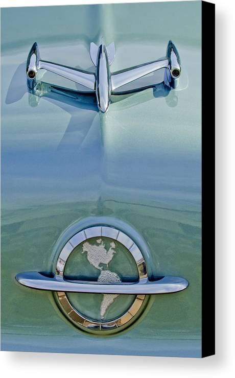 1954 Oldsmobile Super 88 Canvas Print featuring the photograph 1954 Oldsmobile Super 88 Hood Ornament by Jill Reger