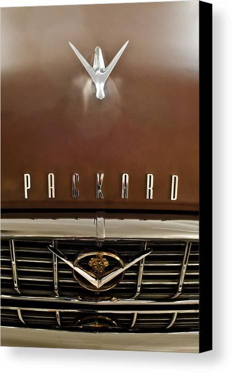1955 Packard 400 Canvas Print featuring the photograph 1955 Packard 400 Hood Ornament by Jill Reger