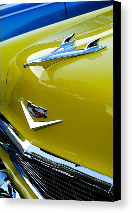 1956 Chevrolet Canvas Print featuring the photograph 1956 Chevrolet Hood Ornament 3 by Jill Reger