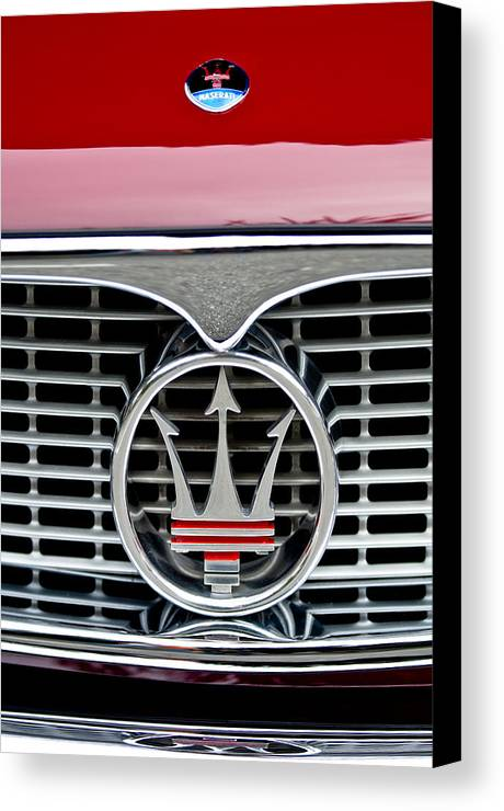1958 Maserati Canvas Print featuring the photograph 1958 Maserati Hood Emblem by Jill Reger