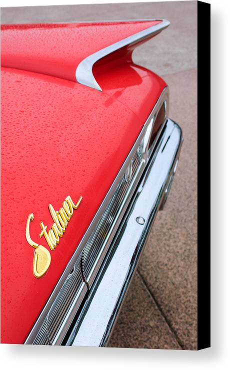 1960 Ford Galaxie Starliner Taillight Emblem Canvas Print featuring the photograph 1960 Ford Galaxie Starliner Taillight Emblem by Jill Reger