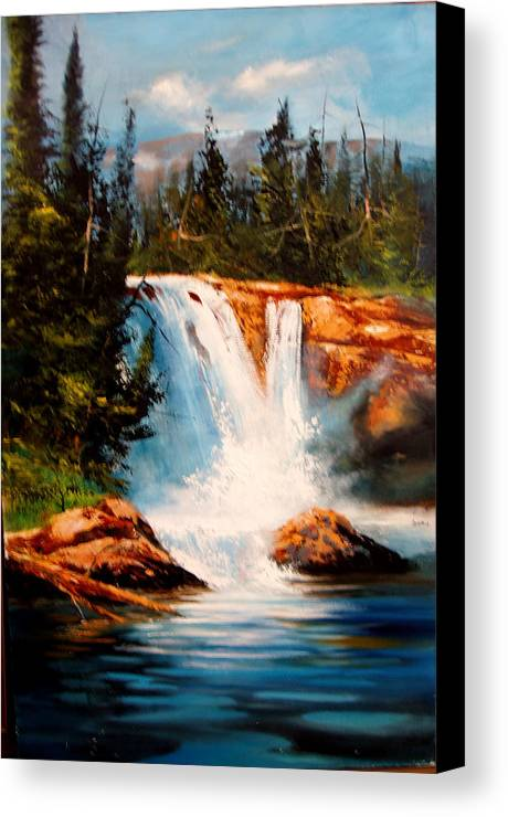 Landscape Canvas Print featuring the painting Mountain Falls by Robert Carver