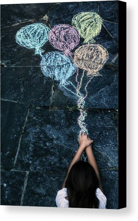 Girl Canvas Print featuring the photograph Balloons by Joana Kruse