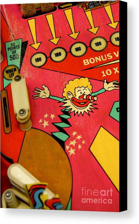 Indoors Canvas Print featuring the photograph Pinball Machine by Bernard Jaubert