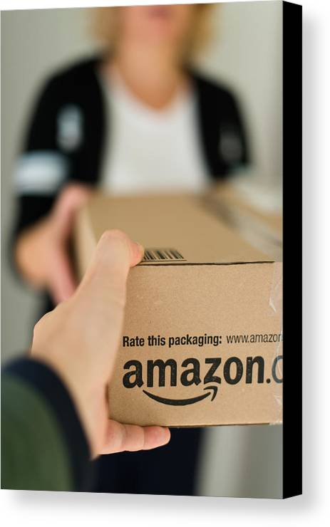 Package Canvas Print featuring the photograph Woman Receiving Parcel by Frank Gaertner