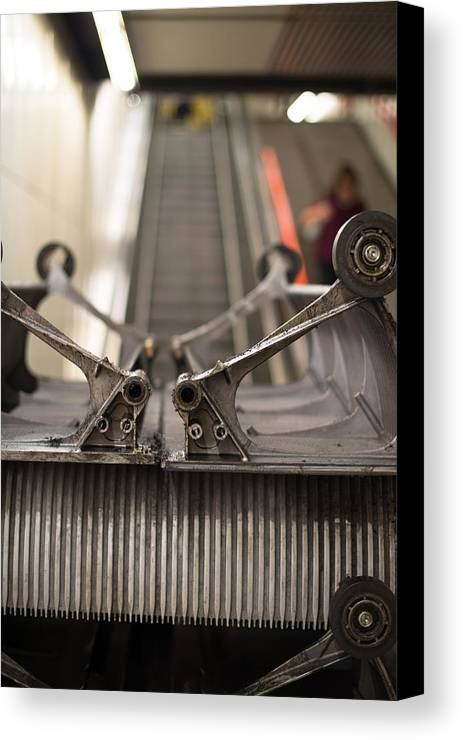 Escalator Canvas Print featuring the photograph Escalator Construction Works by Frank Gaertner