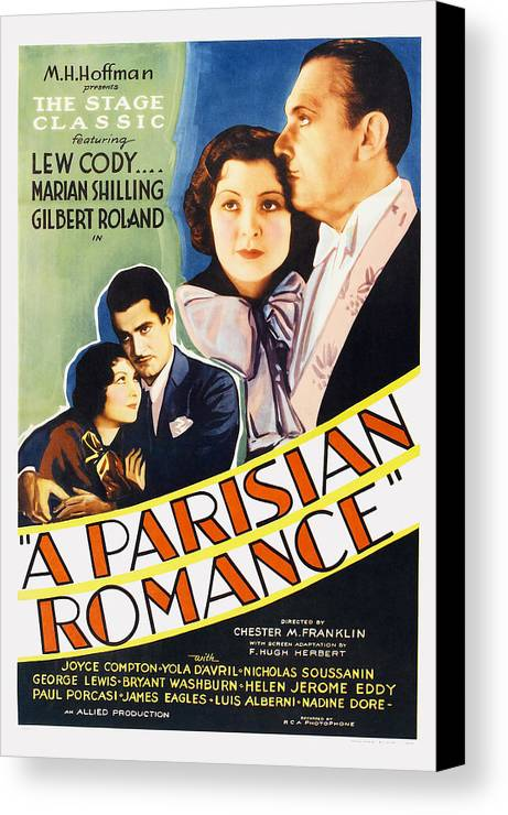 1930s Movies Canvas Print featuring the photograph A Parisian Romance, Us Poster Art by Everett
