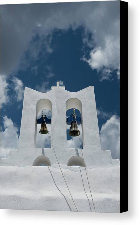 Cloud Canvas Print featuring the photograph A Whitewashed Bell Tower And Dramatic by Ellen Rooney