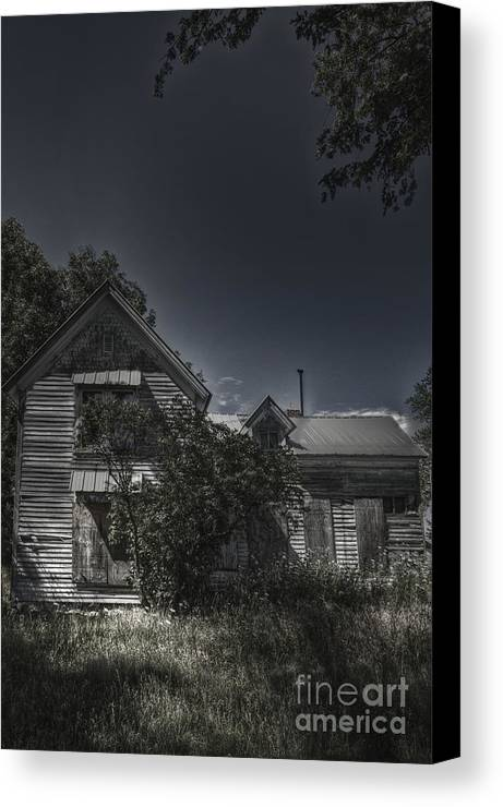 House; Home; Small; Farm House; Boarded; Boards; Wood; Falling Apart; Weeds; Grasses; Trees; Secluded; Abandoned; Desolate; Closed; Dark; Darkness; Ominous; Foreboding; Mystery; Mysterious; Deserted; Front; Facade; Covered; Shroud Canvas Print featuring the photograph Abandoned Farmhouse by Margie Hurwich