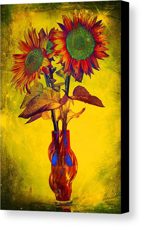 Sunflowers In Vase Canvas Print featuring the photograph Abstract Sunflowers In Vase by Ness Welham