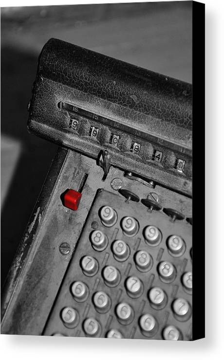 Office Canvas Print featuring the photograph Adding Machine Three by Todd Hartzo