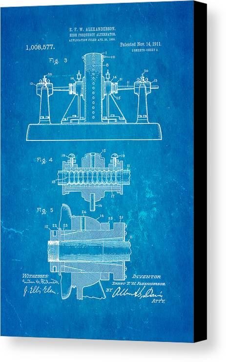 Electricity Canvas Print featuring the photograph Alexanderson Altenator Patent Art 2 1911 Blueprint by Ian Monk