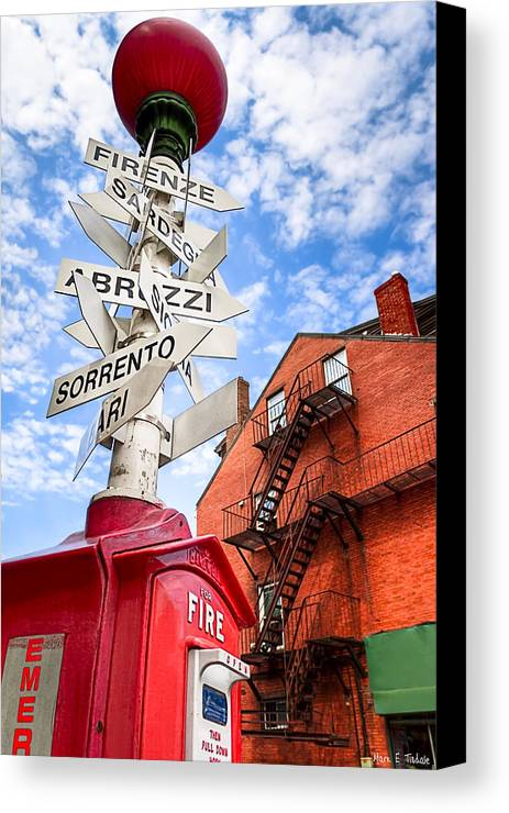 Boston Canvas Print featuring the photograph All Signs Point To Little Italy - Boston by Mark E Tisdale