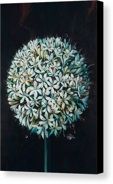 Flower Canvas Print featuring the painting Allium by Lynette Yencho