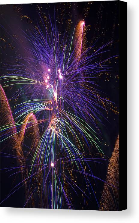 Awesome Fireworks Lights Up The Darkness Canvas Print featuring the photograph Amazing Beautiful Fireworks by Garry Gay
