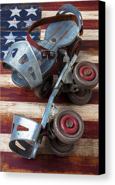 Old Roller Skates Canvas Print featuring the photograph American Roller Skates by Garry Gay