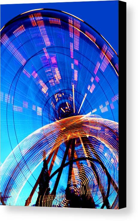 Amusement Park Canvas Print featuring the photograph Amusement Park Rides 1 by Steve Ohlsen
