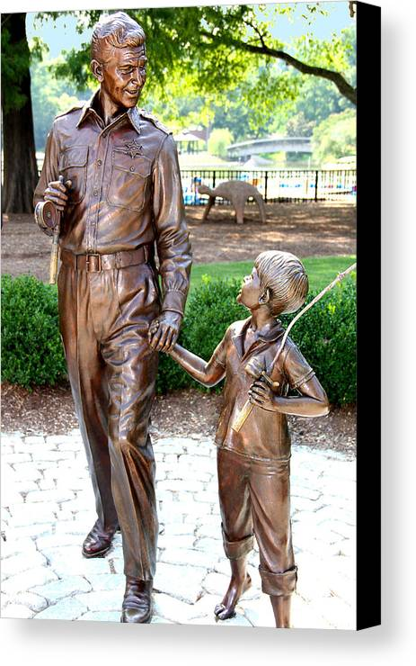Andy Griffith Canvas Print featuring the photograph Andy And Opie Statue Nc by Frank Savarese