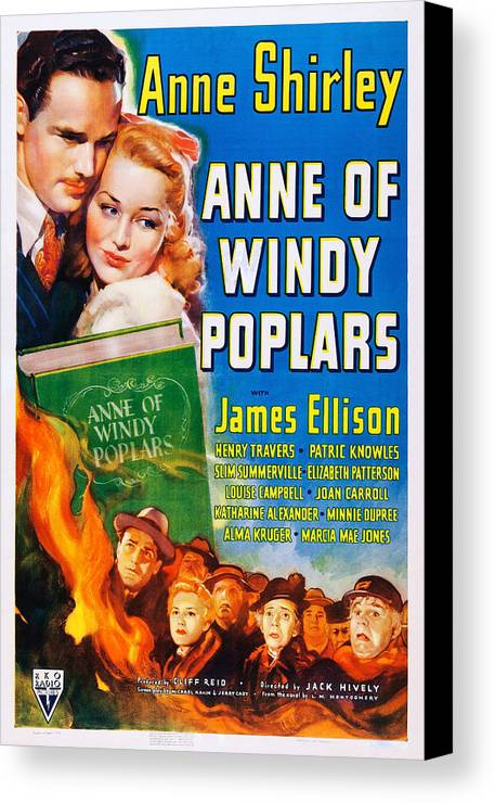 1940 Movies Canvas Print featuring the photograph Anne Of Windy Poplars, Us Poster Art by Everett