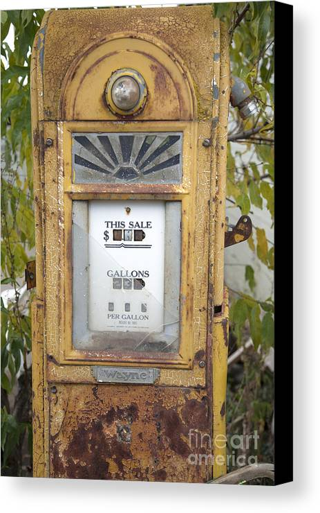 Abandoned Canvas Print featuring the photograph Antique Gas Pump by Peter French