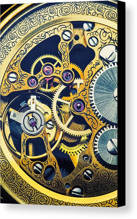 Time Canvas Print featuring the photograph Antique Pocket Watch Gears by Garry Gay
