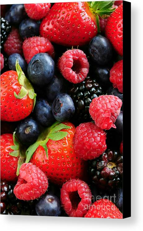 Berry Canvas Print featuring the photograph Assorted Fresh Berries by Elena Elisseeva