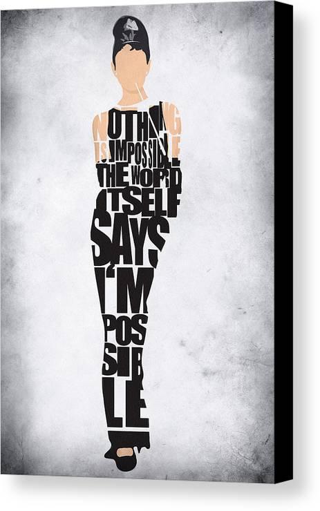 Audrey Hepburn Typography Poster Canvas Print / Canvas Art by ...