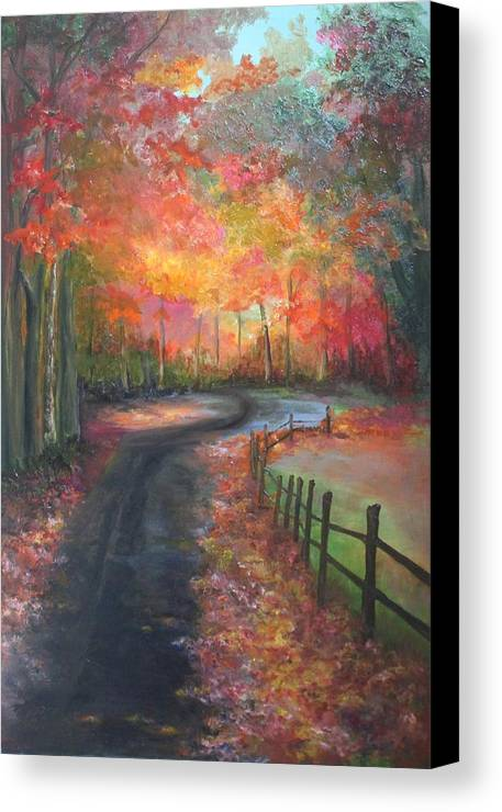 Fall Canvas Print featuring the painting Autumn Bling by Lisa Graves