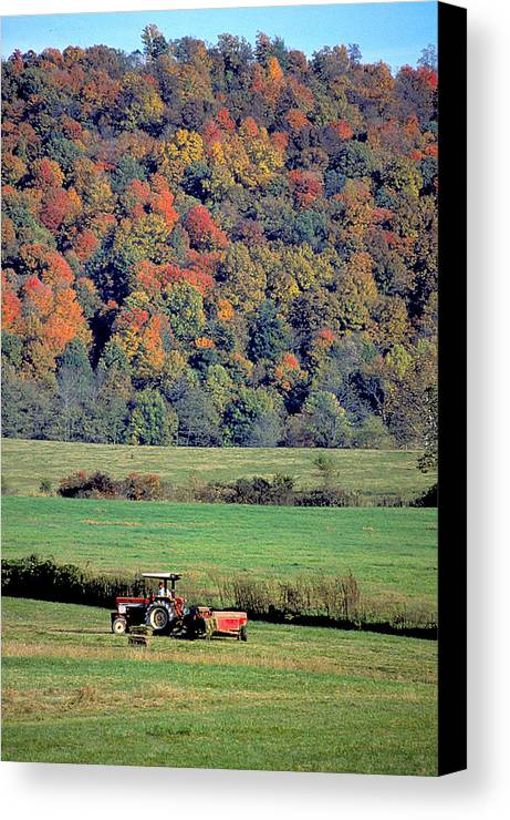 Tractor Canvas Print featuring the photograph Autumn Harvest by Carl Purcell