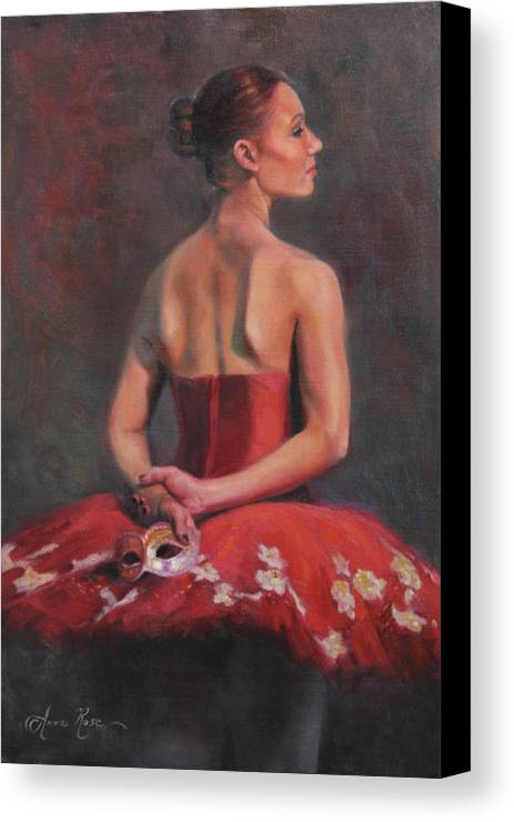 Ballet Canvas Print featuring the painting Ballerina With Mask by Anna Rose Bain
